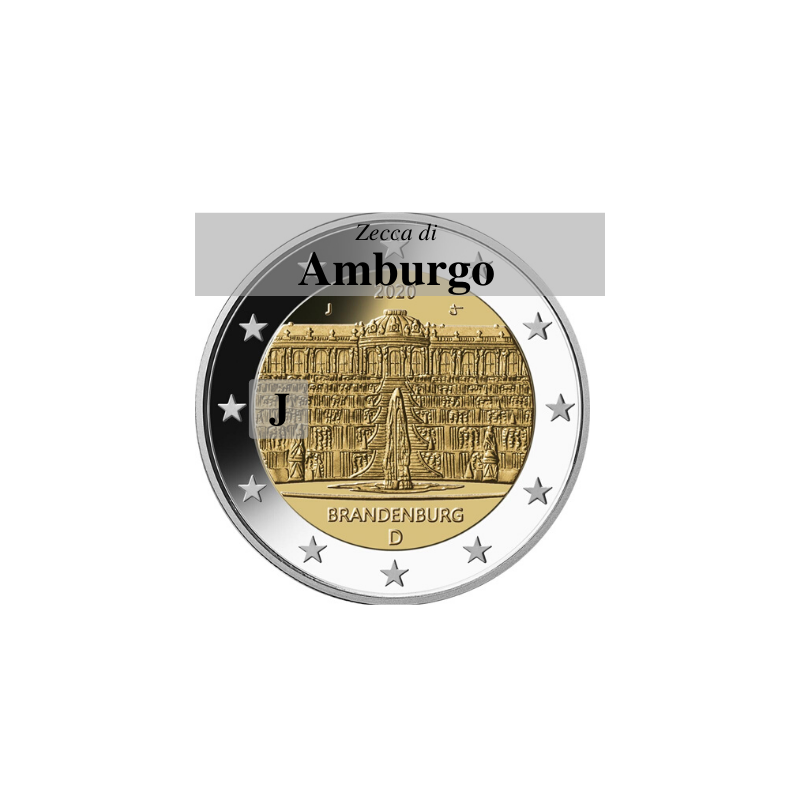 Germania 2020 - 2 euro commemorativo palazzo di Sanssouci, 14° moneta dedicata ai Lander tedeschi - zecca di Amburgo J
