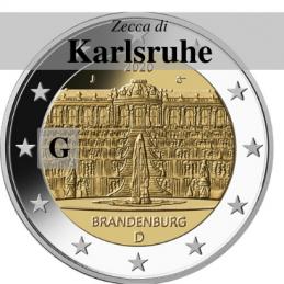 Germania 2020 - 2 euro commemorativo palazzo di Sanssouci, 14° moneta dedicata ai Lander tedeschi - zecca di Karlsruhe G