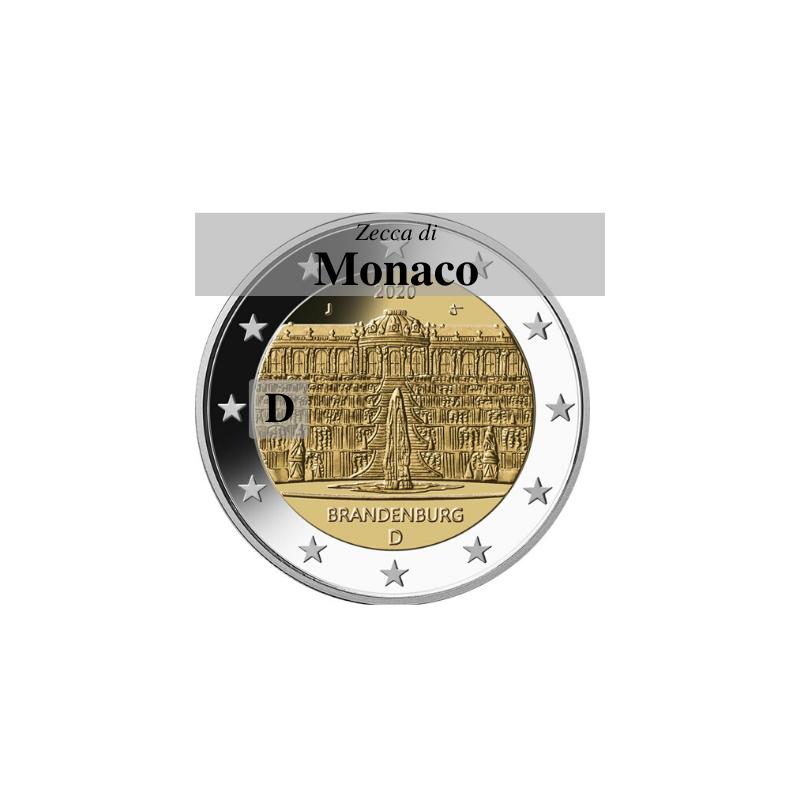 Germania 2020 - 2 euro commemorativo palazzo di Sanssouci, 14° moneta dedicata ai Lander tedeschi - zecca di Monaco D