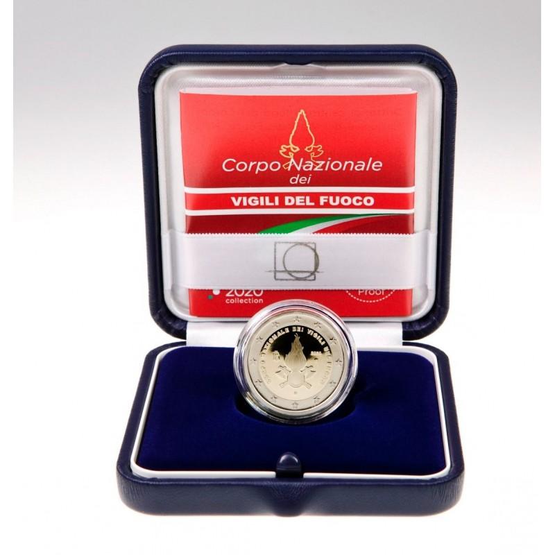 Italia 2020 - 2 euro commemorativo Proof 80° anniversario della fondazione del Corpo Nazionale dei Vigili del Fuoco in astuccio.