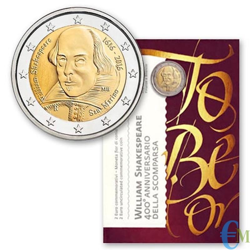 San Marino 2016 - 2 euro commemorativo 400° anniversario della morte di William Shakespeare