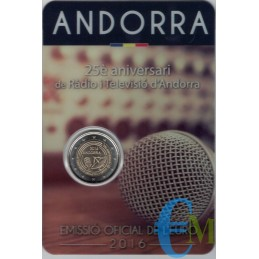 Andorra 2016 - 2 euro commemorativo 25° anniversario della Radiotelevisione di Andorra.