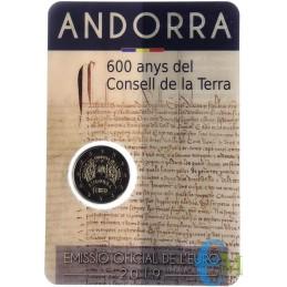 Andorra 2019 - 2 euro commemorativo 600° anniversario del Consell de la Terra, parlamento unicamente di Andorra.