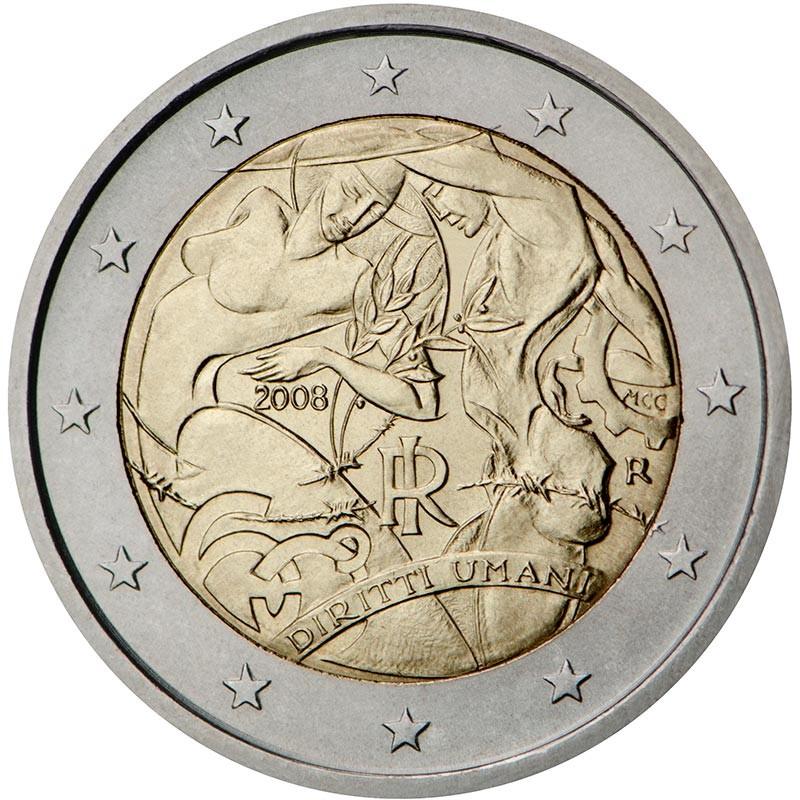 Italia 2008 - 2 euro commemorativo 60° anniversario della Dichiarazione universale dei diritti dell'uomo