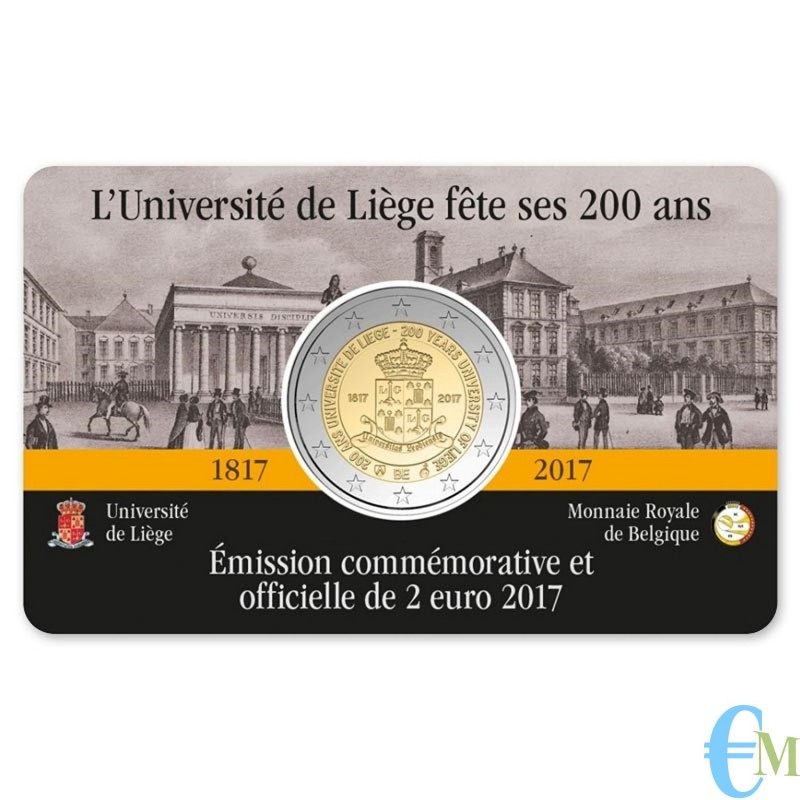 Belgio 2017 - 2 euro commemorativo 200° anniversario dell'Università di Liegi. Francese