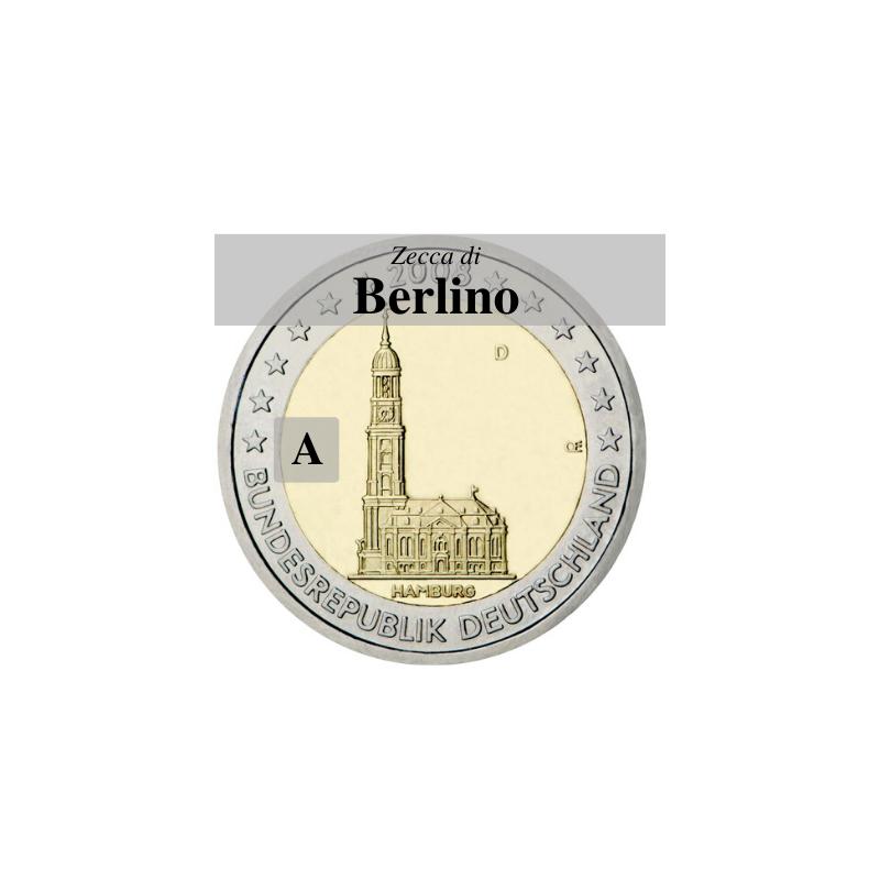 Germania 2008 - 2 euro commemorativo Chiesa di San Michele a Amburgo, zecca di Berlino A