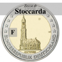 Germania 2008 - 2 euro commemorativo Chiesa di San Michele a Amburgo, zecca di Stoccarda F