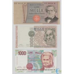 Italia - Lotto 1000 Lire G. Verdi 2° tipo - M. Polo - M. Montessori