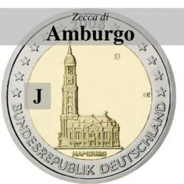 Germania 2008 - 2 euro commemorativo Chiesa di San Michele a Amburgo, zecca di Amburgo J