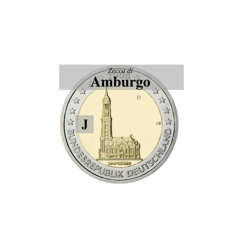Germania 2008 - 2 euro commemorativo Chiesa di San Michele a Amburgo, zecca di Amburgo J