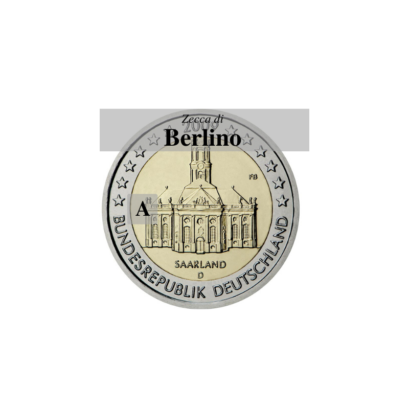 Germania 2009 - 2 euro commemorativo Ludwigskirdhe a Saarbrucken - zecca di Berlino A