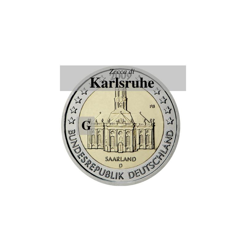 Germania 2009 - 2 euro commemorativo Ludwigskirdhe a Saarbrucken - zecca di Karlsruhe G