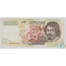 Italia - 100000 Lire Caravaggio 2° tipo D 20.02.1997