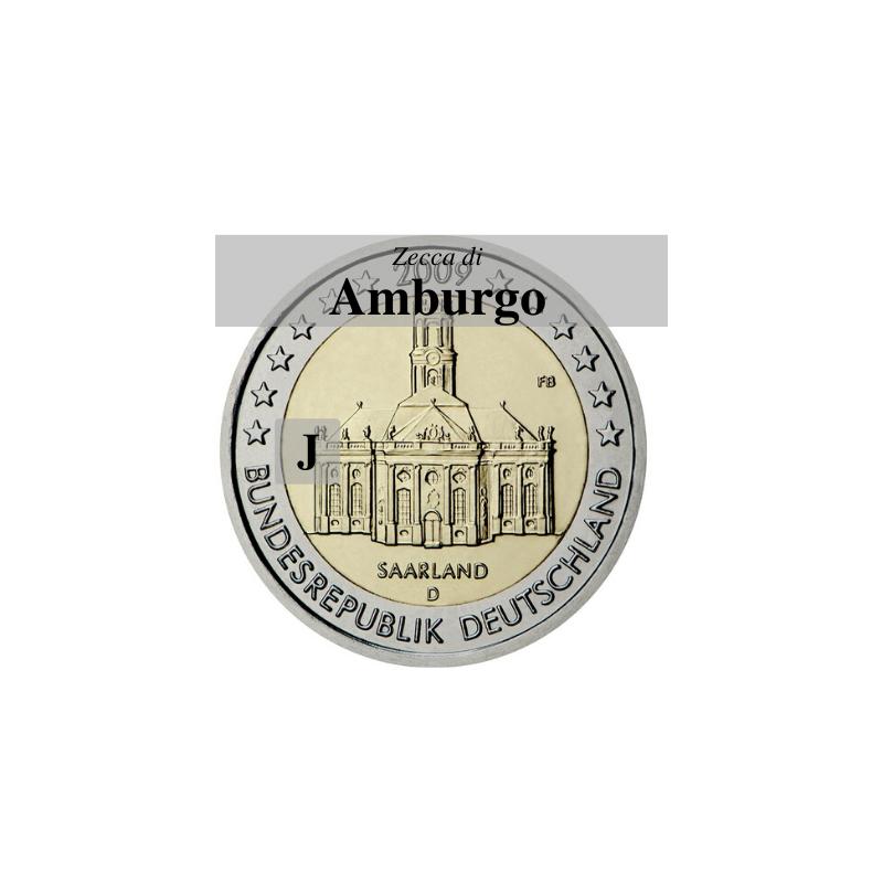 Germania 2009 - 2 euro commemorativo Ludwigskirdhe a Saarbrucken - zecca di Amburgo J