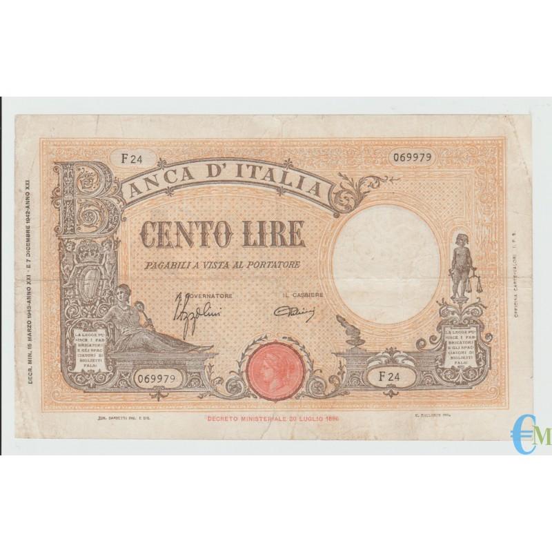 Italia - 100 Lire Barbetti Grande B Testina 15.03.1943