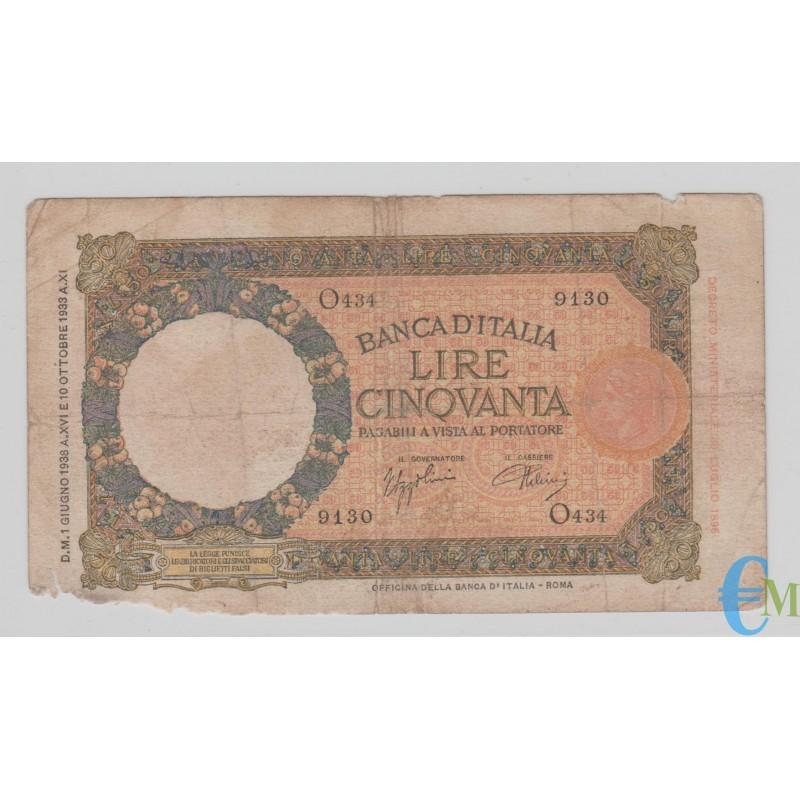 Italia - 50 Lire Capranesi Lupa capitolina 01.06.1938