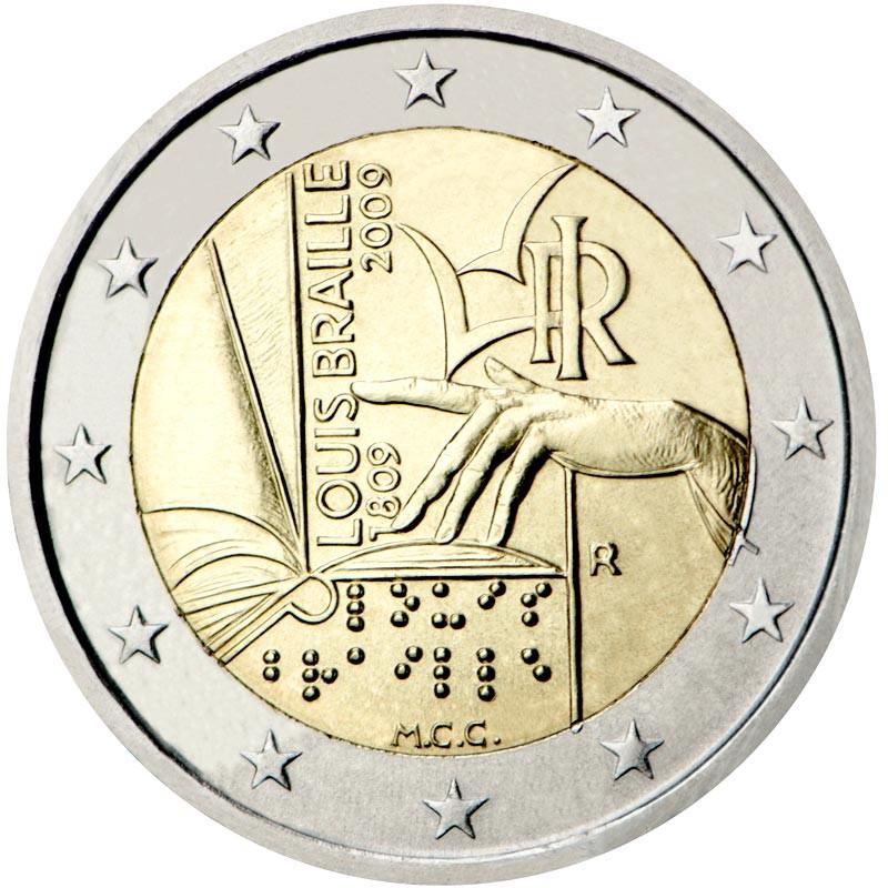 Italia 2009 - 2 euro commemorativo 200° anniversario dalla nascita di Louis Braille
