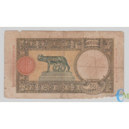 Italia - 50 Lire Capranesi Lupa capitolina 01.06.1938 rovescio