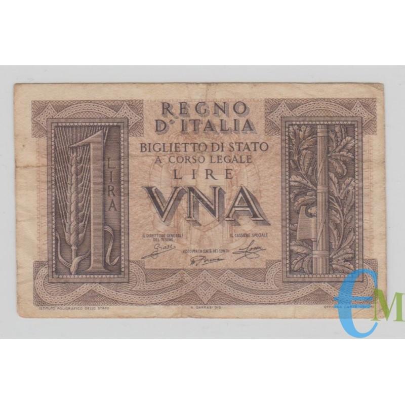 Italia - 1 Lira Biglietto di Stato Fascio 14.11.1939