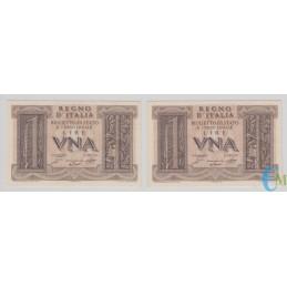 Italia - Lotto 2 consecutive di 1 Lira Biglietto di Stato Fascio 14.11.1939