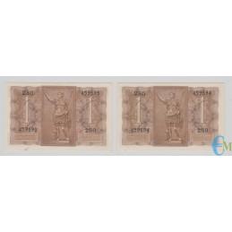 Italia - Lotto 2 consecutive di 1 Lira Biglietto di Stato Fascio 14.11.1939 rovescio