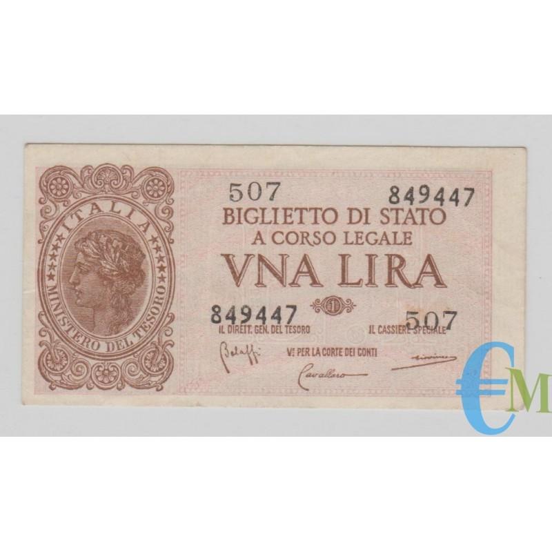 Italia - 1 Lira Biglietto di Stato Luogotenenza Umberto 23.11.1944