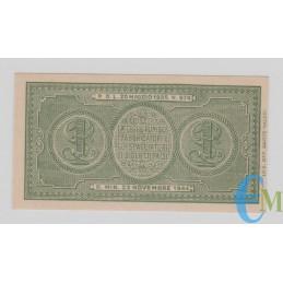 Italia - 1 Lira Biglietto di Stato Luogotenenza Umberto 23.11.1944 SUP rovescio