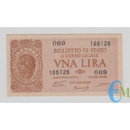 Italia - 1 Lira Biglietto di Stato Luogotenenza Umberto 23.11.1944 SUP