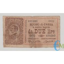 Italia - 2 Lire Buono di Cassa Effige Vittorio Emanuele III 02.09.1914 MB