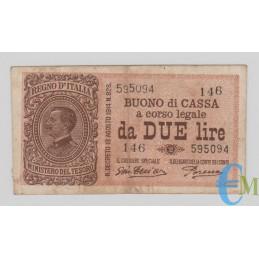 Italia - 2 Lire Buono di Cassa Effige Vittorio Emanuele III 14.03.1920