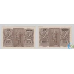Italia - Lotto 2 consecutive di 2 Lire Biglietto di Stato Fascio 14.11.1939 rovescio