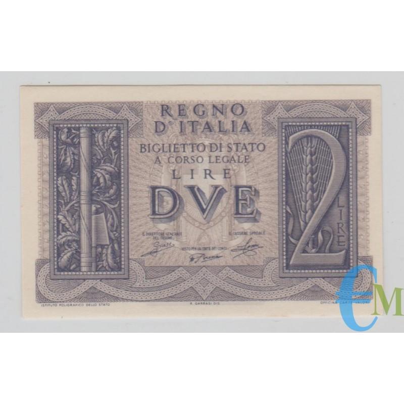 Italia - 2 Lire Biglietto di Stato Fascio 14.11.1939