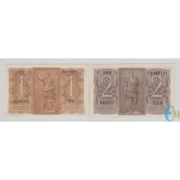 Italia - Lotto 1 Lira e 2 Lire Biglietto di Stato Fascio 14.11.1939 rovescio