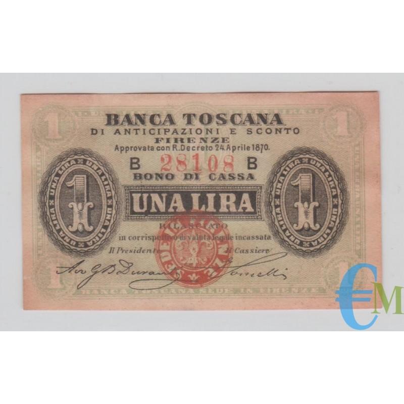 Italia - 1 Lira Banca Toscana di Anticipazioni e Sconto Firenze 24.04.1870