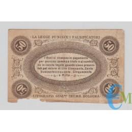 Italia - 50 Centesimi Banca Toscana di Anticipazioni e Sconto 24.04.1870 C rovescio
