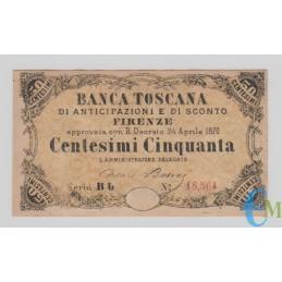 Italia - 50 Centesimi Banca Toscana di Anticipazioni e di Sconto Firenze 24.04.1870