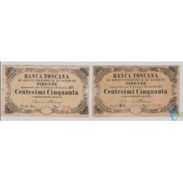 Italia -Lotto serie A e B 50 Centesimi Banca Toscana di Anticipazioni e di Sconto Firenze 1870