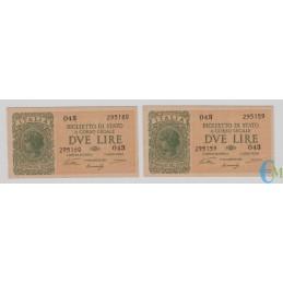 Italia - Lotto 2 consecutive di 2 Lire Biglietto di Stato Luogotenenza Umberto 23.11.1944
