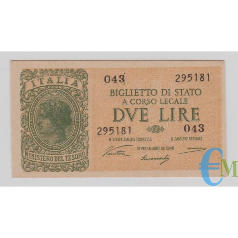 Italia - 2 Lire Biglietto di Stato Luogotenenza Umberto 23.11.1944