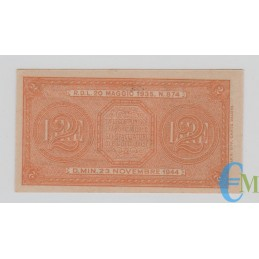 Italia - 2 Lire Biglietto di Stato Luogotenenza Umberto 23.11.1944 rovescio