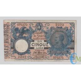 Italia - 5 Lire Biglietto di Stato Vittorio Emanuele III 05.11.1914