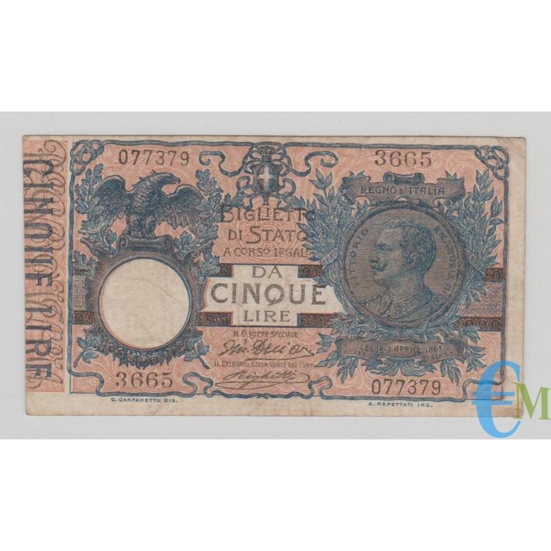 Italia - 5 Lire Biglietto di Stato Vittorio Emanuele III 05.11.1914 bb