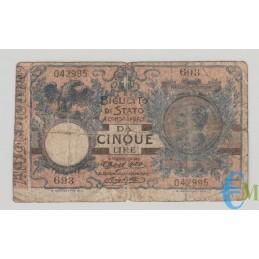 Italia - 5 Lire Biglietto di Stato Vittorio Emanuele III 08.11.1904
