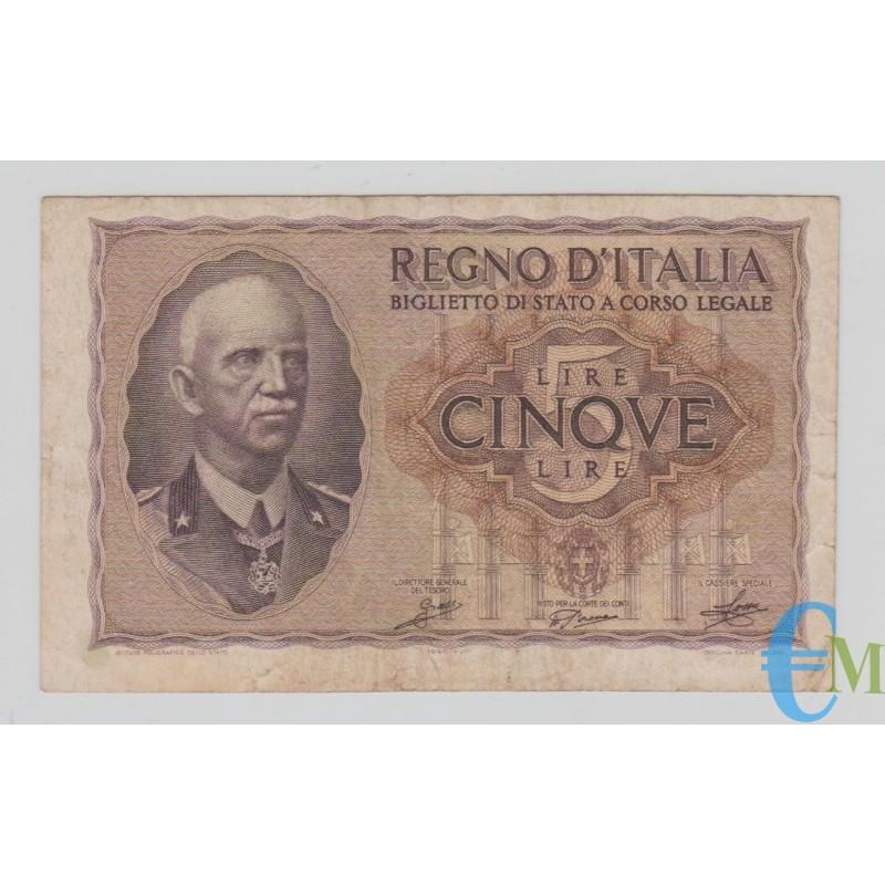 Italia - 5 Lire Biglietto di Stato Vittorio Emanuele III Fascio 1940 XVIII