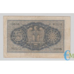 Italia - 5 Lire Biglietto di Stato Vittorio Emanuele III Fascio 1940 XVIII rovescio