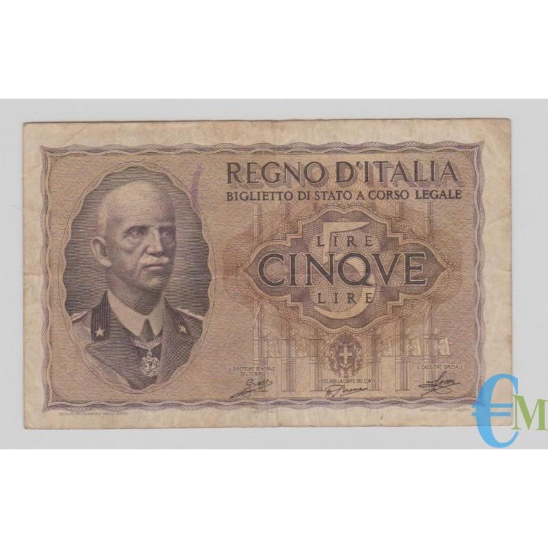 Italia - 5 Lire Biglietto di Stato Vittorio Emanuele III Fascio 1940 XVIII bb