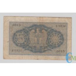 Italia - 5 Lire Biglietto di Stato Vittorio Emanuele III Fascio 1940 XVIII bb rovescio