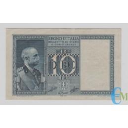 Italia - 10 Lire Biglietto di Stato Vittorio Emanuele III Fascio 1939 XVIII