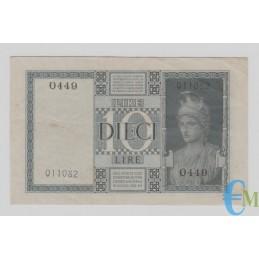 Italia - 10 Lire Biglietto di Stato Vittorio Emanuele III Fascio 1939 XVIII rovescio
