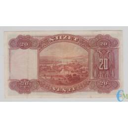 Italia - 20 Franchi Oro Banca Nazionale D'Albania Protettorato Febbraio 1926 rovescio